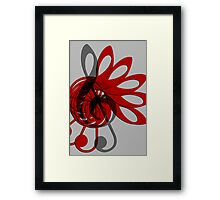 Music Treble Clef Abstract in Gray Red and Black Framed Print