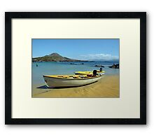 yellow boats on golden irish beach Framed Print