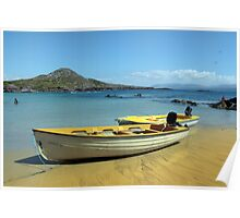 yellow boats on golden irish beach Poster