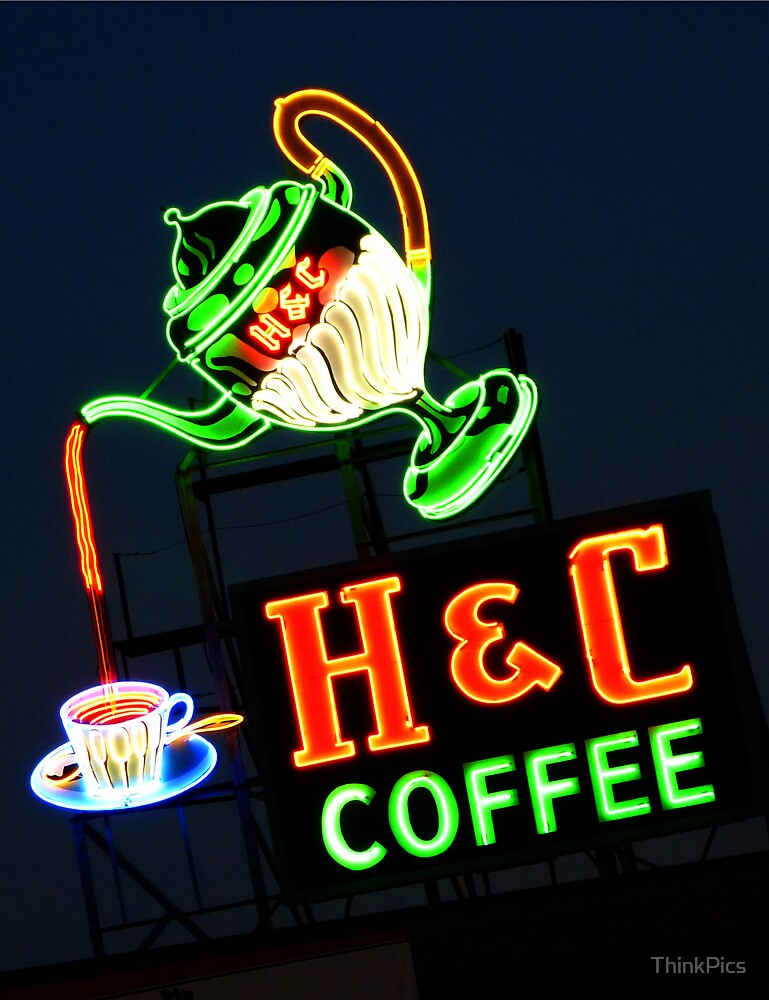Neon H & C Coffee by ThinkPics