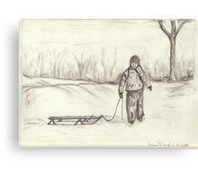Boy and His Sleigh Canvas Print