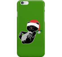 Christmas Black Bear with Red Santa Hat, Holly & Silver Bell iPhone Case/Skin