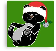 Christmas Black Bear with Red Santa Hat, Holly & Silver Bell Canvas Print