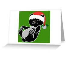 Christmas Black Bear with Red Santa Hat, Holly & Silver Bell Greeting Card