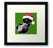 Christmas Black Bear with Red Santa Hat Framed Print