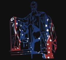 President Lincoln Statue In USA Flag Colors Kids Tee