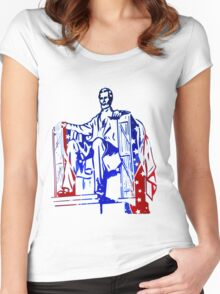 President Lincoln Statue In USA Flag Colors Women's Fitted Scoop T-Shirt