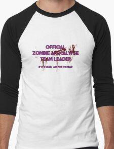 Zombie Apocalypse Team Leader Men's Baseball ¾ T-Shirt