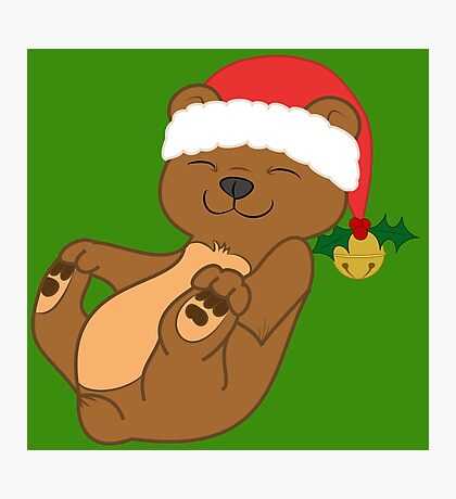 Christmas Brown Bear with Red Santa Hat, Holly & Gold Bell Photographic Print