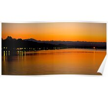 Sunset on Lake Bolsena Poster