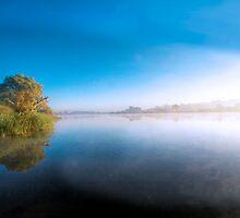Fog Lifting - The River Murray, Murray Bridge, South Australia by Mark Richards
