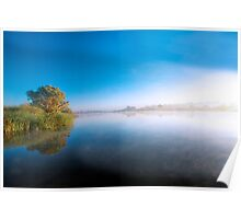 Fog Lifting - The River Murray, Murray Bridge, South Australia Poster