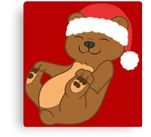 Christmas Brown Bear with Red Santa Hat Canvas Print