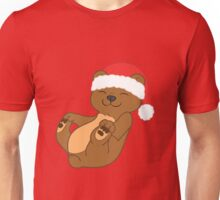Christmas Brown Bear with Red Santa Hat Unisex T-Shirt