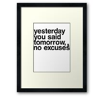 Yesterday - Helvetica Black Framed Print