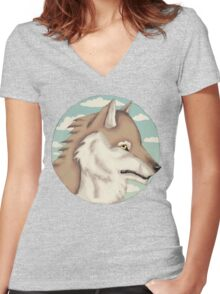 Blue Sky Wolf Women's Fitted V-Neck T-Shirt