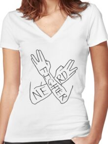 Nerd cartoon Women's Fitted V-Neck T-Shirt