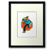 Electrician Worker Running Electrical Plug Framed Print
