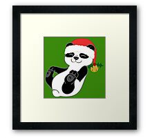 Christmas Panda Bear with Red Santa Hat, Holly & Gold Bell Framed Print