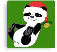 Christmas Panda Bear with Red Santa Hat, Holly & Gold Bell Canvas Print