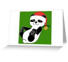 Christmas Panda Bear with Red Santa Hat, Holly & Gold Bell Greeting Card