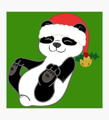Christmas Panda Bear with Red Santa Hat, Holly & Gold Bell Photographic Print