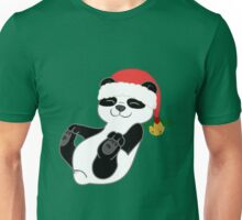 Christmas Panda Bear with Red Santa Hat, Holly & Gold Bell Unisex T-Shirt
