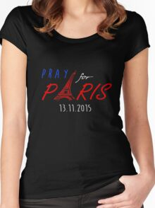 PRAY FOR PARIS design Women's Fitted Scoop T-Shirt