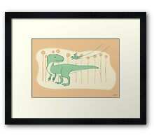 Allosaurus and Anurognathus Framed Print
