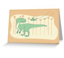 Allosaurus and Anurognathus Greeting Card
