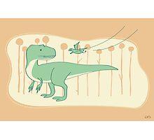 Allosaurus and Anurognathus Photographic Print