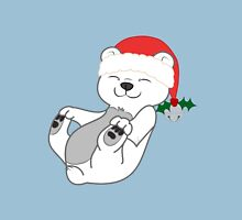 Christmas Polar Bear with Red Santa Hat, Holly & Silver Bell Unisex T-Shirt