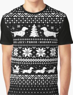 Dachshunds Christmas Sweater Pattern Graphic T-Shirt