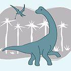 Giraffatitan and Rhamphorynchus by David Orr