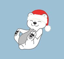 Christmas Polar Bear with Red Santa Hat Unisex T-Shirt