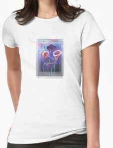 Birthday Wishes Greeting Card with Lilac Calla Lilies Womens Fitted T-Shirt