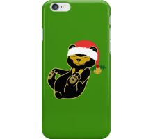 Christmas Sun Bear with Red Santa Hat, Holly & Gold Bell iPhone Case/Skin