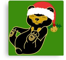 Christmas Sun Bear with Red Santa Hat, Holly & Gold Bell Canvas Print