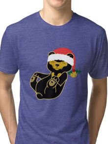 Christmas Sun Bear with Red Santa Hat, Holly & Gold Bell Tri-blend T-Shirt