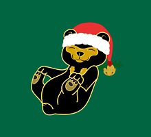 Christmas Sun Bear with Red Santa Hat, Holly & Gold Bell Unisex T-Shirt