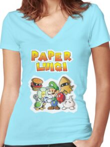 Paper Luigi Colored Women's Fitted V-Neck T-Shirt