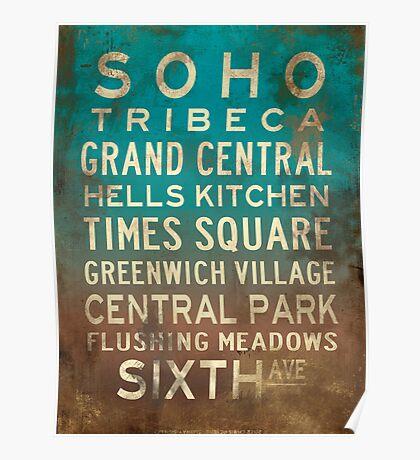 SOHO Subway Sign Art Vintage Blue Green Ochre Poster