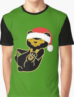 Christmas Sun Bear with Red Santa Hat Graphic T-Shirt
