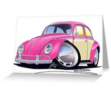 VW Beetle (2-Tone) Pink Greeting Card