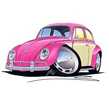 VW Beetle (2-Tone) Pink Photographic Print