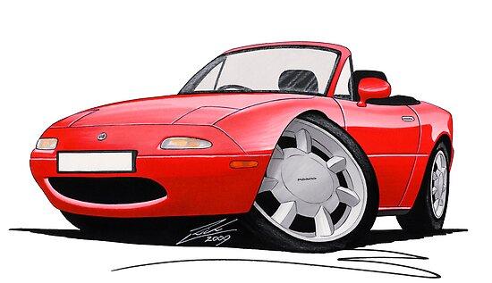 Mazda MX5 / Miata (Mk1) Red by Richard Yeomans
