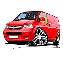 VW T5 Sportline Van Red Photographic Print