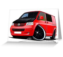 VW T5 (A) Red Greeting Card