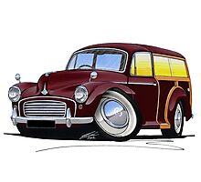 Morris Minor Traveller Maroon Photographic Print
