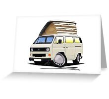 VW T25 / T3 White (Open Pop Top) Greeting Card